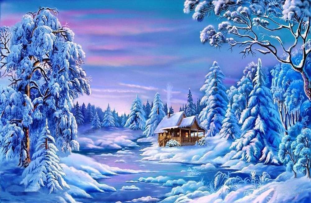χιονισμένο χειμώνα online παζλ