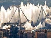 explosion of the Morandi bridge