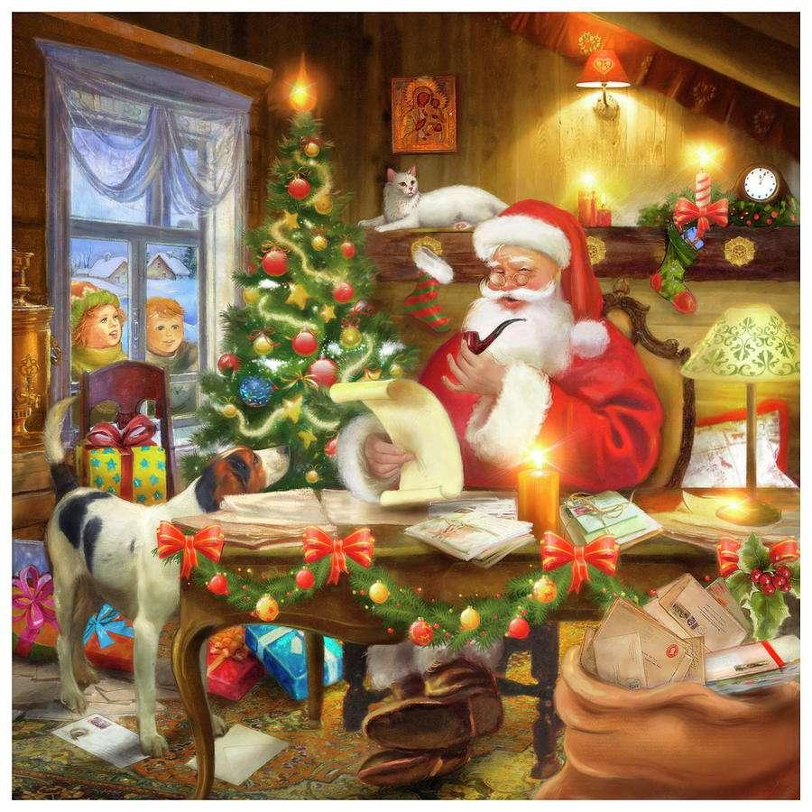 Liste du Père Noël - Père Noël, enfants, chien, sapin, maison (9×9)