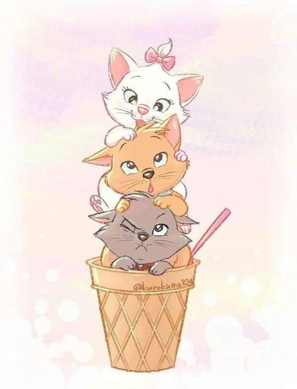 Aristokaten - Die Hauptfiguren des Films sind die Katzenfamilie - Herzogin die Katze und ihre drei schönen Kinder: Marie, Toulouse und Berlioz. Ihre Besitzerin ist eine reiche Frau Adelaide, die ihre Schützlinge (2×3)