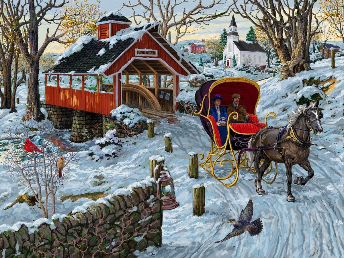 Winter drive - Winter landscape, people, horses (12×9)