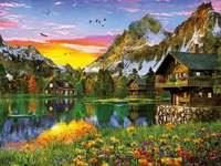 Stugor vid sjön i bergen pussel