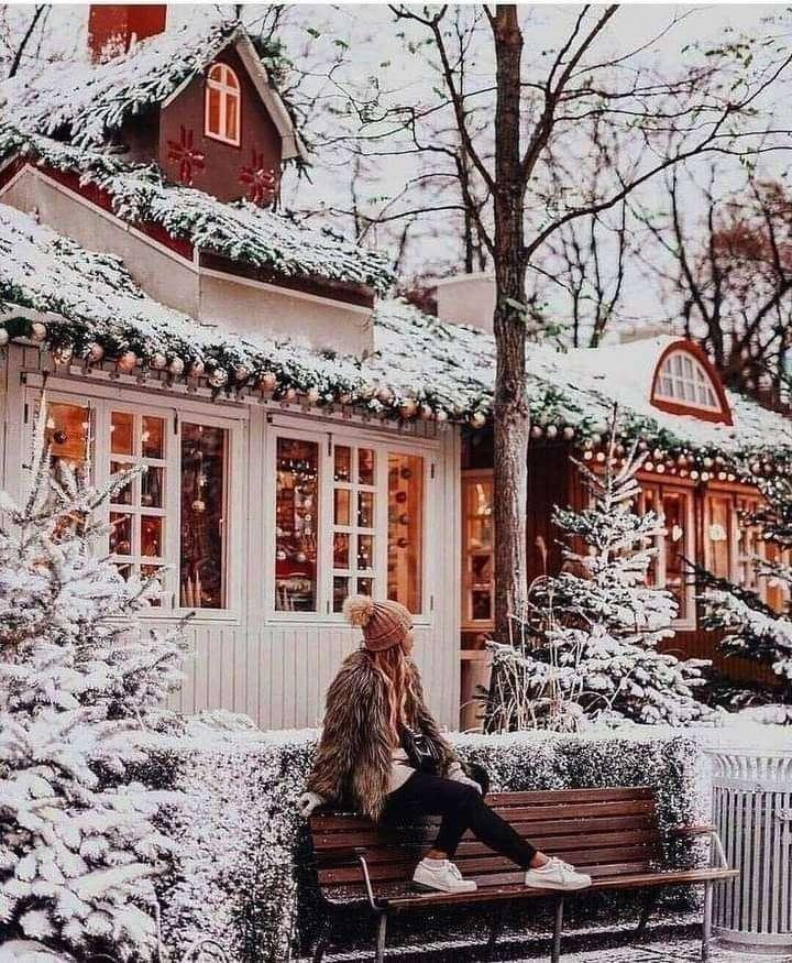 Maison enneigée - Image de Noël typique, après une forte chute de neige (7×9)