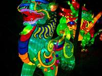 décor de lumière verte rouge et bleue