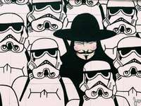 pictura lui Guy Fawkes și a Star Wars Stormtroopers
