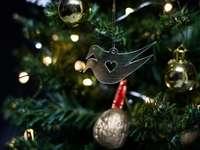 makro fotografie ptáka vánoční výzdoba