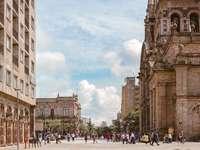 lidí, kteří jdou poblíž hnědé starobylé katedrály