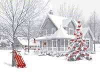 maison de Noël enneigée