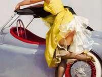 Mujer, con, coche