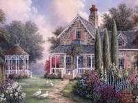 Peinture maison de campagne avec pavillon