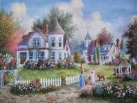 Schilderij huis kerk paviljoen