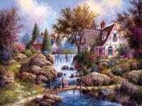 Pictura caselor podul pârâului cascadă