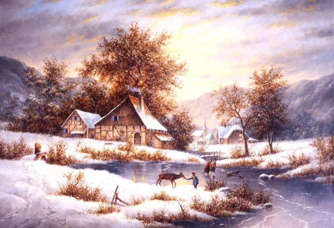 Pictând iarna la țară (14×10)