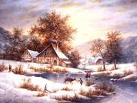 Painting winter in the countryside