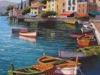 Pintura ciudad en el lago y barcos.
