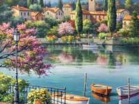 Painting city on the lake and boats