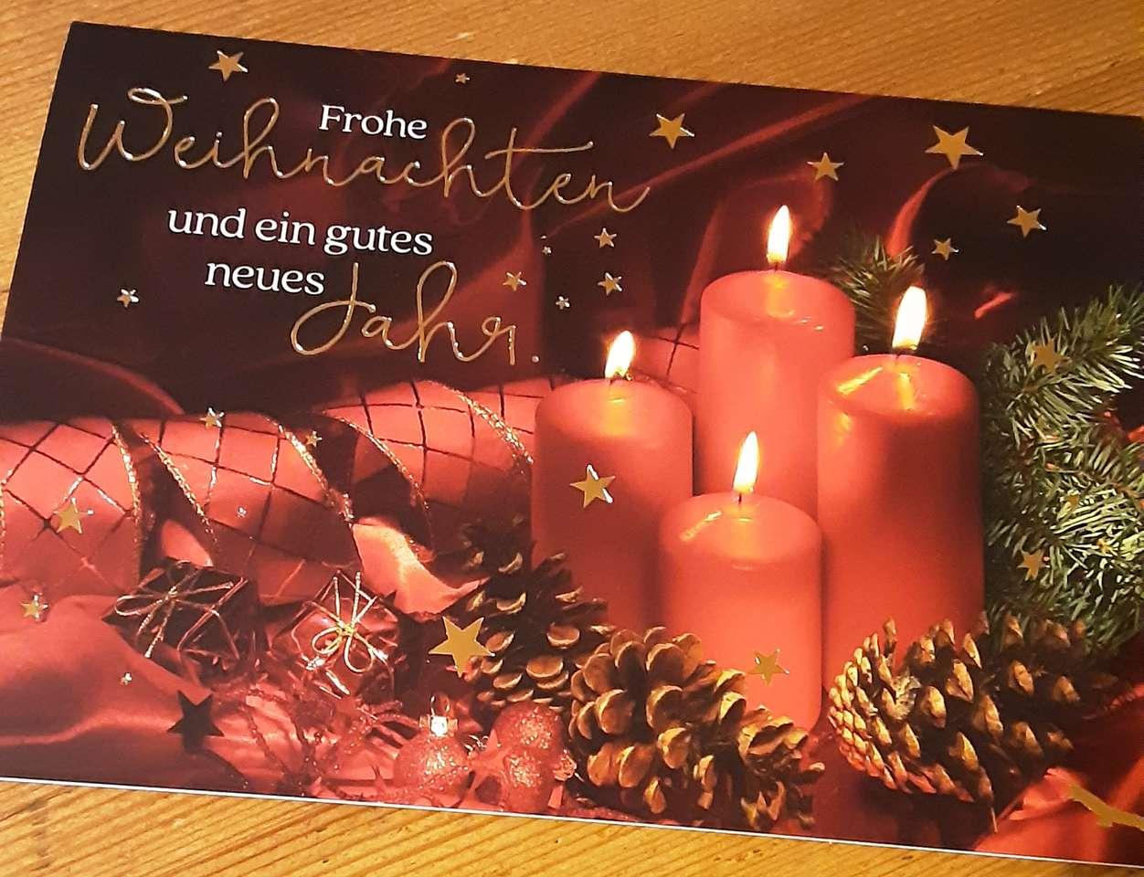 Souhaits de Noël - Souhaits de Noël aux chandelles (9×7)
