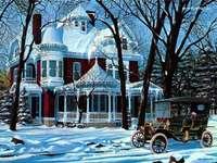 viktoriánský dům v zimě