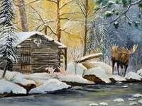 сцена на Рождество в гората
