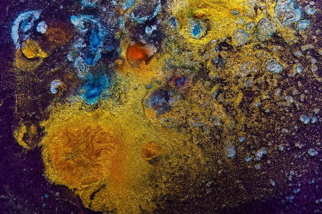 braune blaue und gelbe abstrakte Malerei Puzzle
