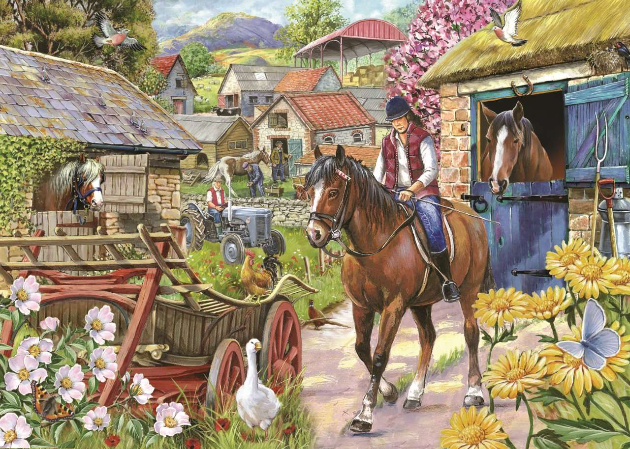 Country Life - People, horses, village, flowers (12×9)