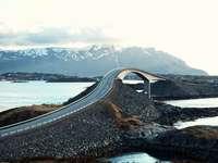 puente de hormigón gris sobre el río