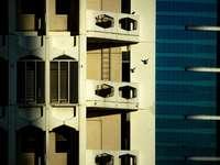 clădire din beton alb și albastru
