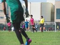 lidé hrají fotbal na zelené louky během dne