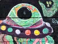 groen en zwart abstract schilderij
