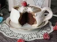 bolo- uma xícara de café