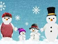 famille de bonhomme de neige