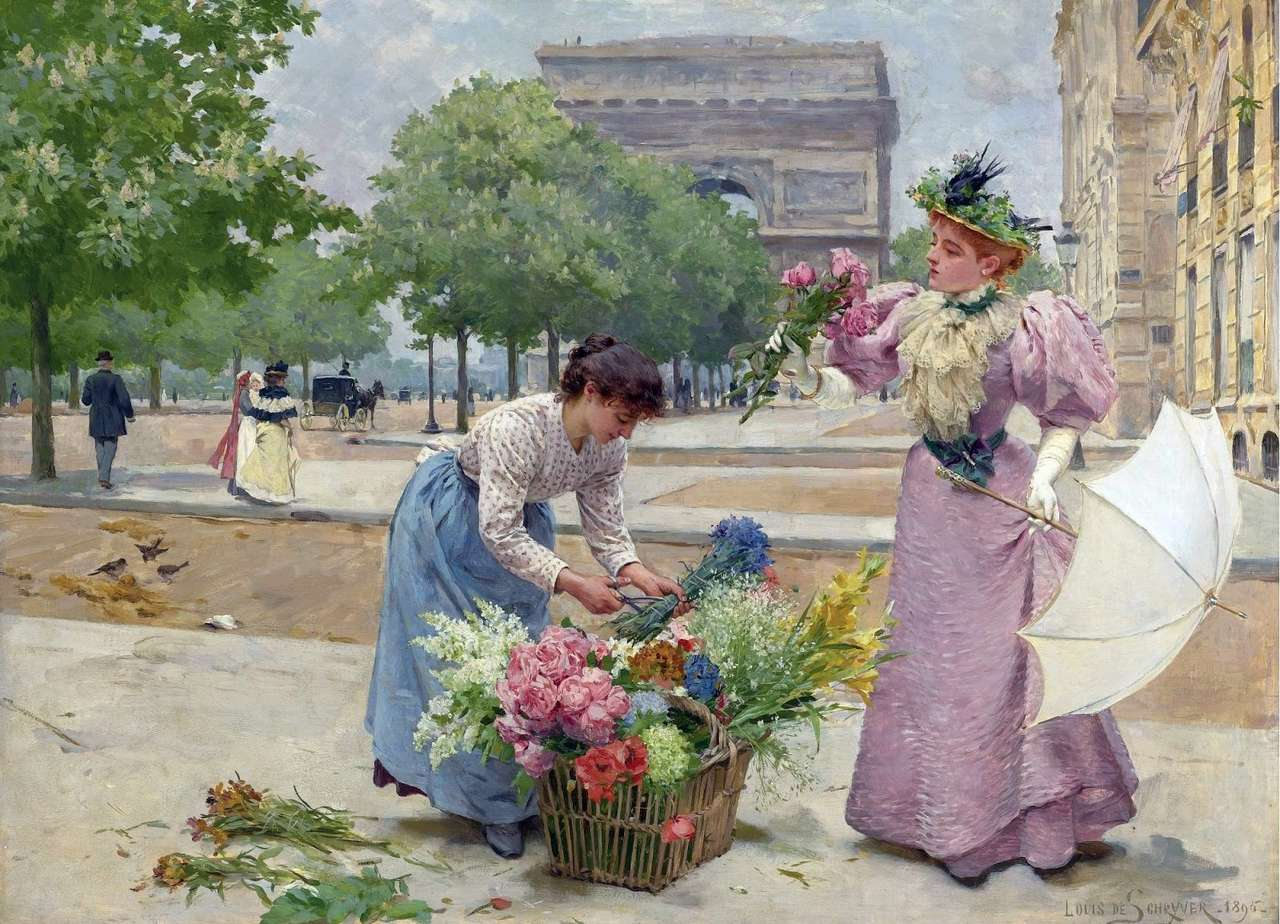 Vendiendo flores - Pintura de Louis de Schryver (11×8)