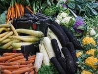 gröna och orange grönsaker på svart plastbehållare