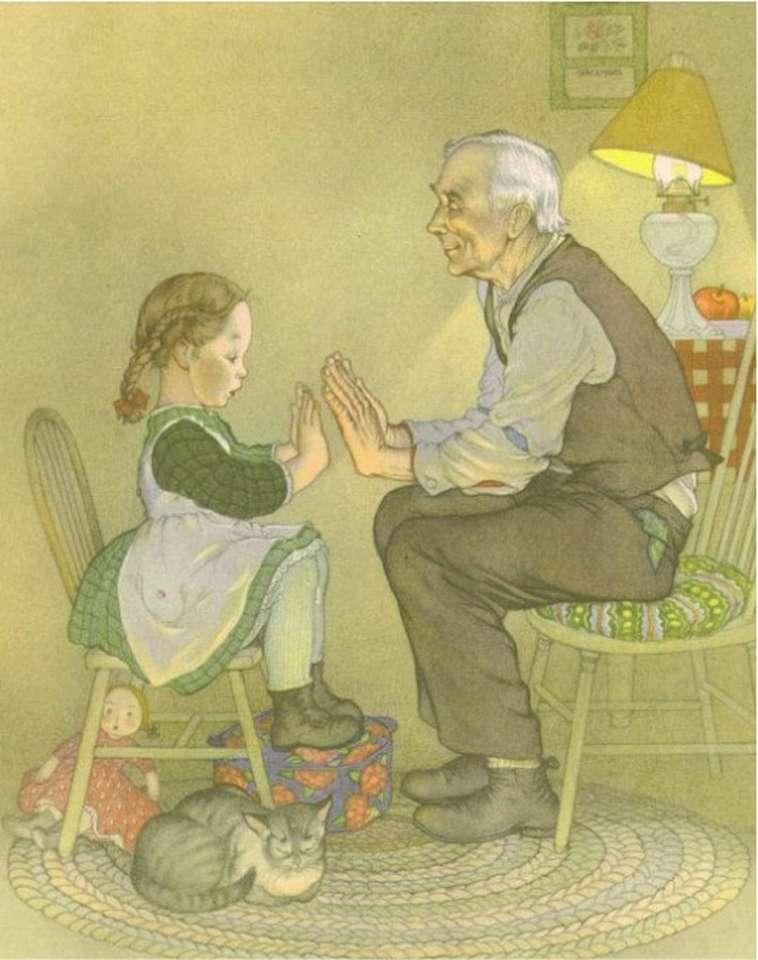 děda hraje s vnučkou hru (15×20)