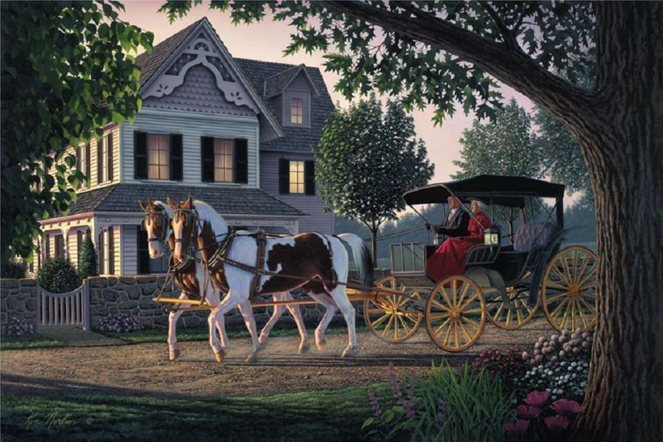 A carriage - Carriage, people, horses, house, tree (10×7)