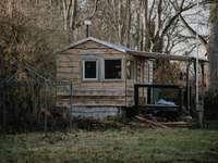 кафява дървена къща близо до дървета през деня