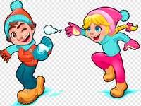 Cu zăpadă ne jucăm și cu bulgări aruncăm