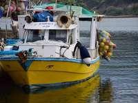 жълта и синя лодка по вода през деня