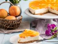 tarta de queso con albaricoques y mermelada