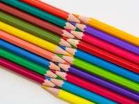 Lápices de colores multicolores sobre superficie blanca