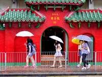 άνδρας και γυναίκα, κρατώντας ομπρέλα περπάτημα στο πεζοδρόμιο