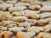 brown and white cookies in tilt shift lens