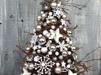 Christmas tree made of birch twigs