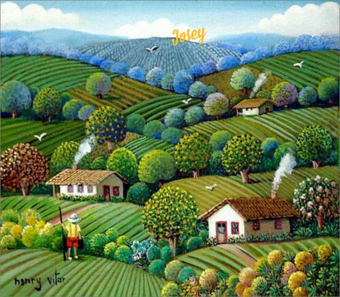 Blick auf die Felder - Landschaften in Gemälden (20×18)