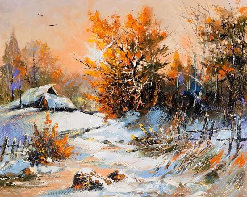 vinter i konst - vintervy på bilden (12×10)