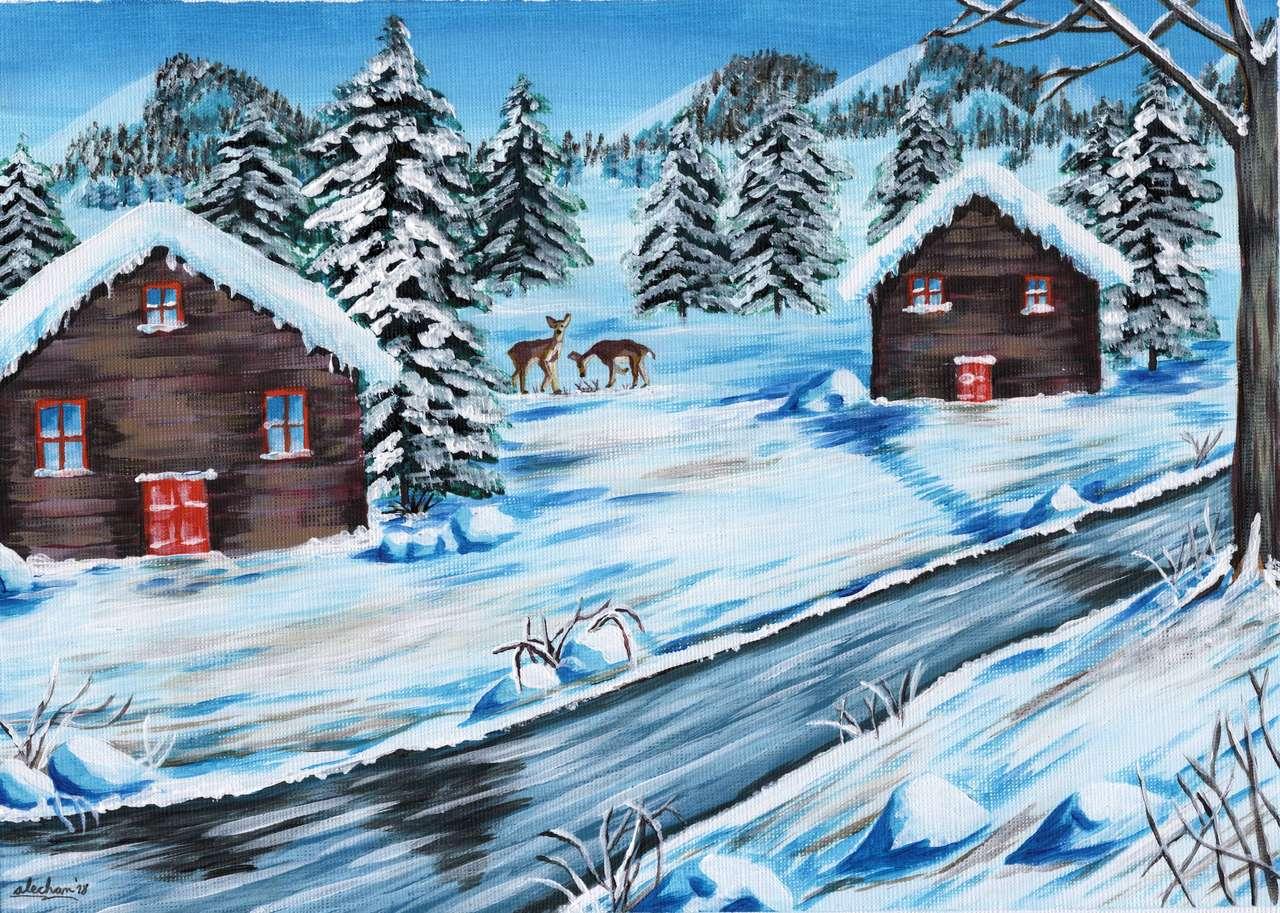Peisaj de iarnă - Puzzle clasa pregătitoare-lecție finală (4×3)
