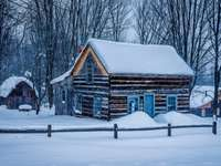 snow-covered cottage