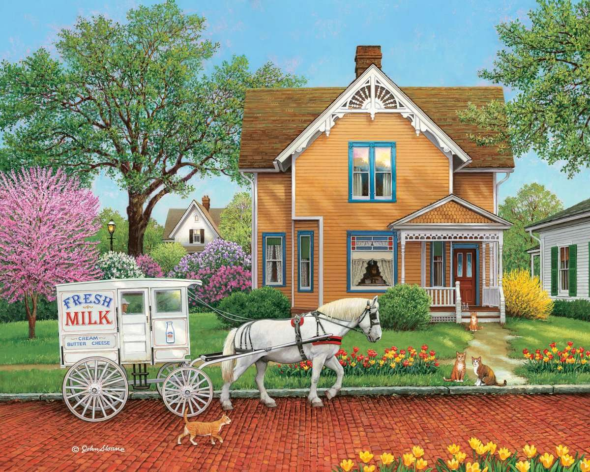 Fresh Milk - Spring, flowers, house, horse, cats (11×9)