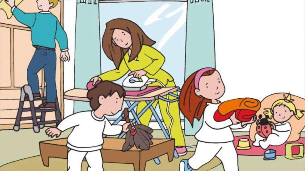 Enfants aidant - Enfants aidant à la maison dans le commerce (10×6)
