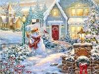 om de zăpadă în fața casei
